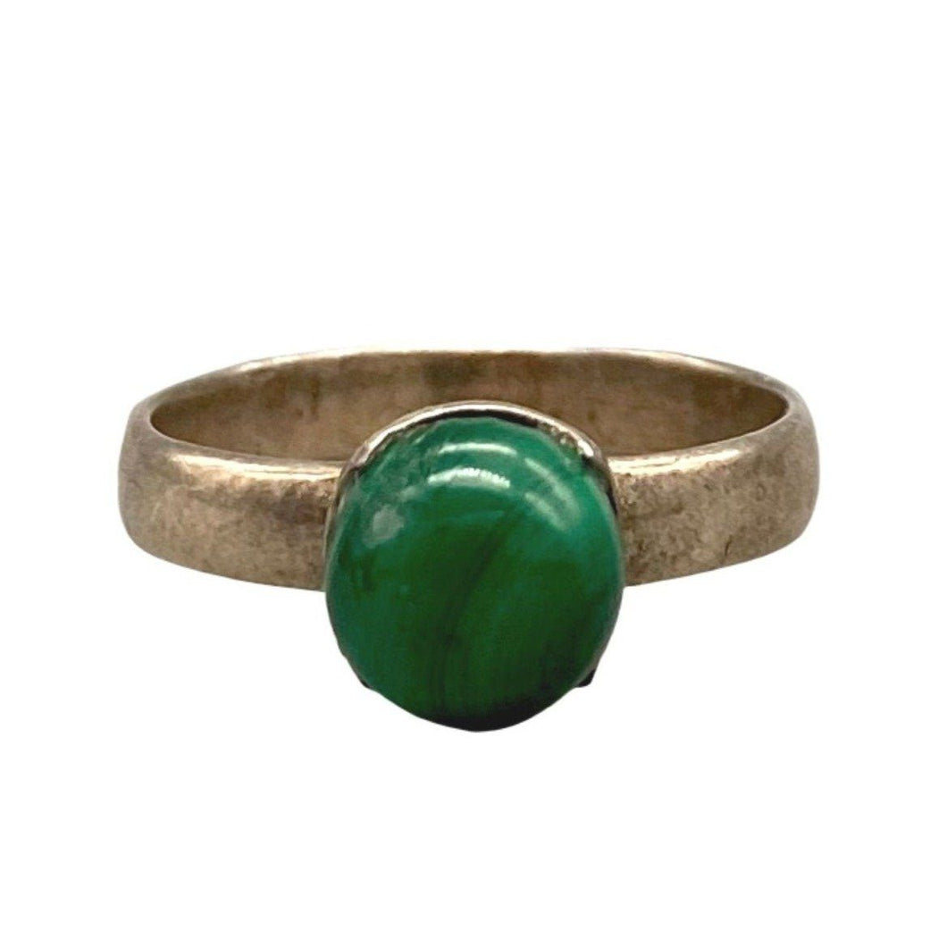 Simple Sterling Silver & Green Malachite Moroccan Ring - Size 6.5 Rings