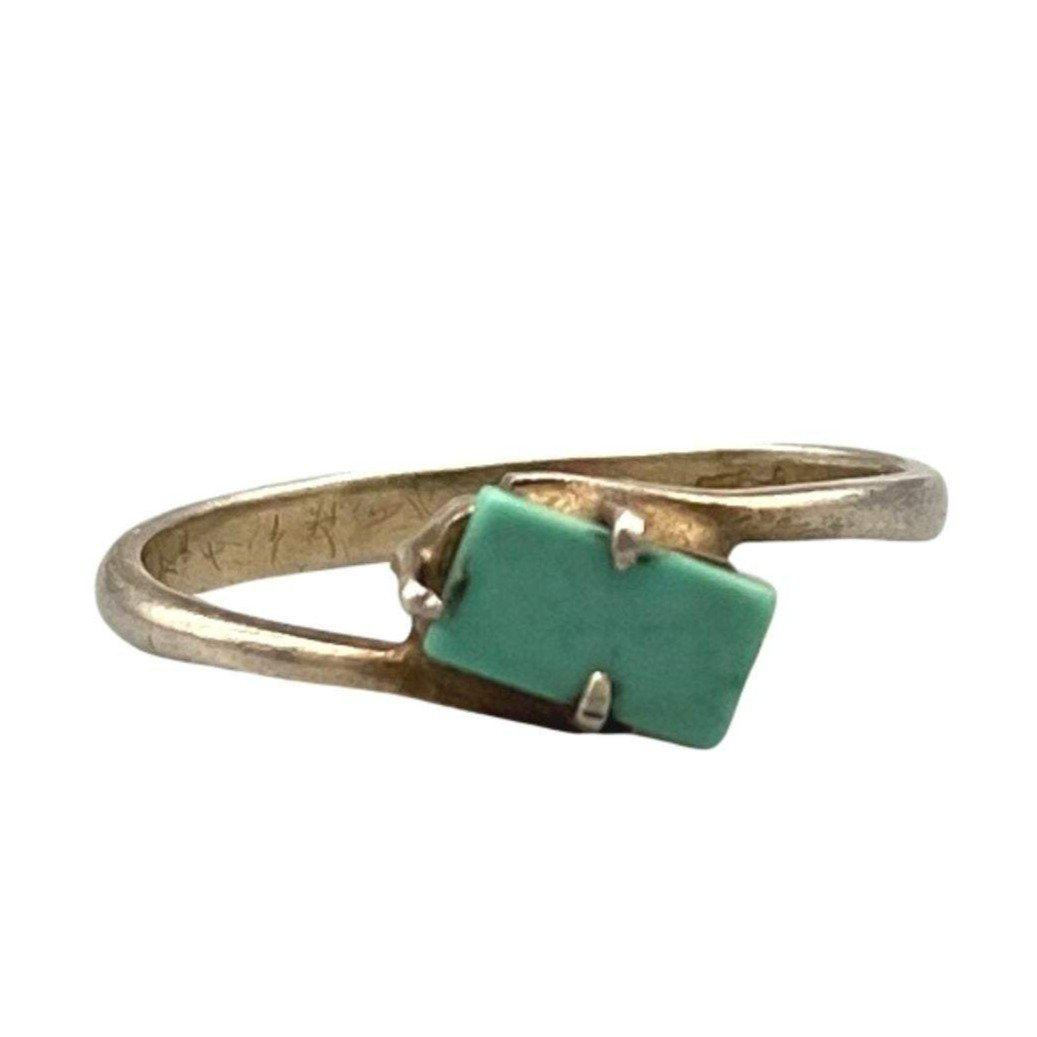Simple Sterling Silver & Turquoise Moroccan Ring - Size 7 Rings