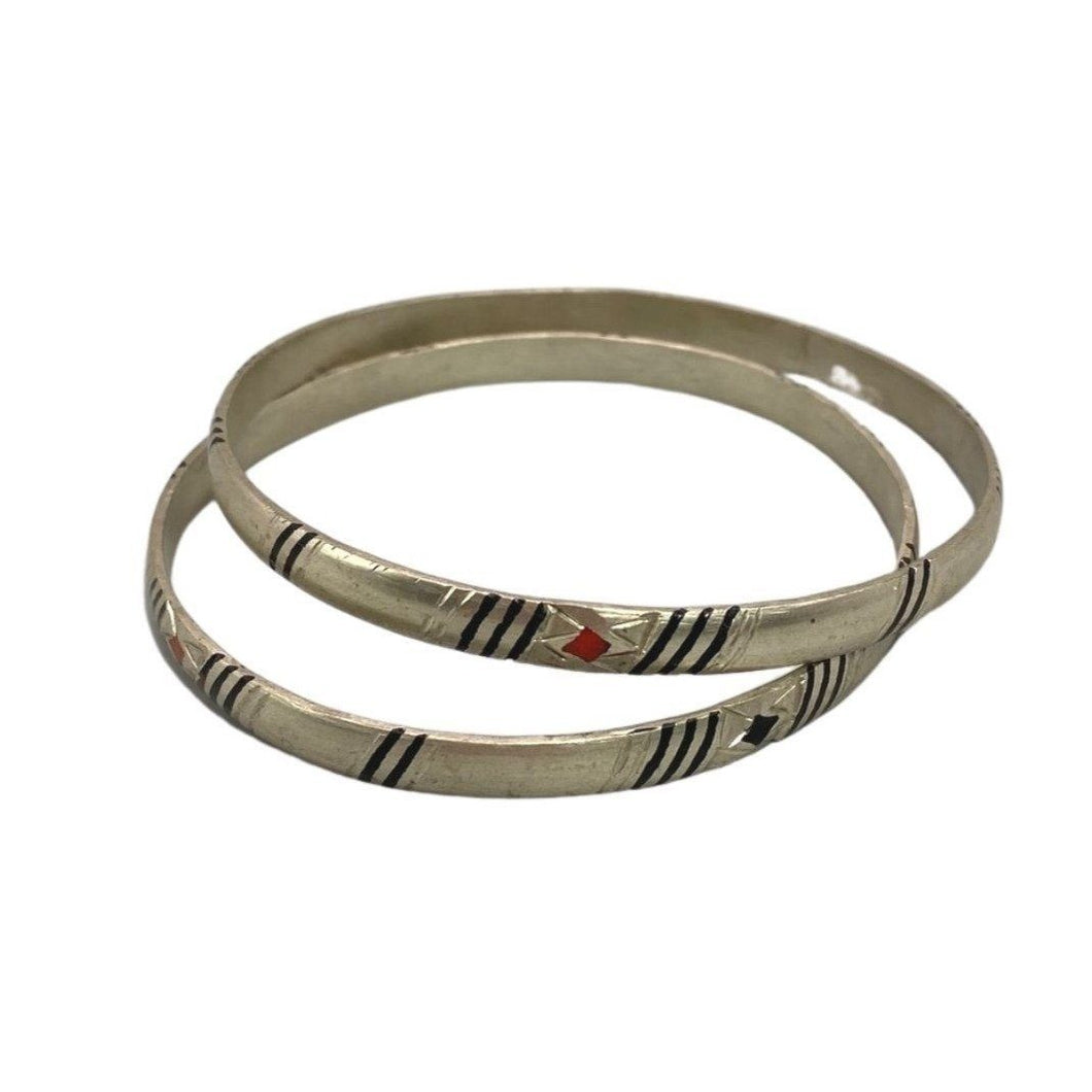 Simple Thin Tuareg Silver Bangle Bracelets from Moroccan Sahara Desert - Hand Etched, Ebony Inlay Bracelet