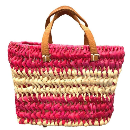 Small Morocco Straw Basket Purse - Pink Tote Bag with Leather Handles - Woven Native Moroccan Reed Bags & Purses