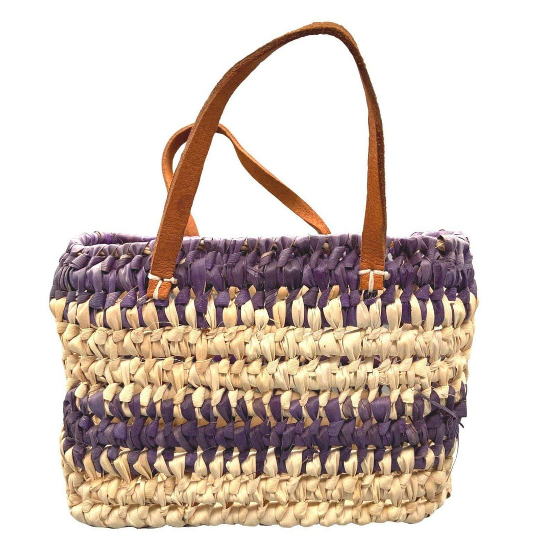 Small Morocco Straw Basket Purse - Purple Tote Bag with Leather Handles - Woven Native Moroccan Reed Bags & Purses