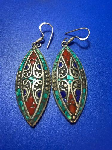 Solid Silver Turquoise Moroccan Drop Earrings Jewelry