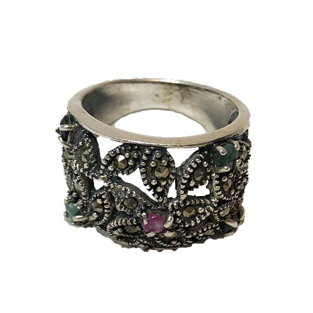 Sterling Silver Moroccan Berber Ring - Flower Gems Size 6.5 Rings