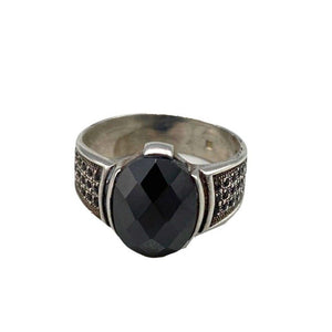 Sterling Silver Moroccan Berber Ring - Onyx Size 9.5