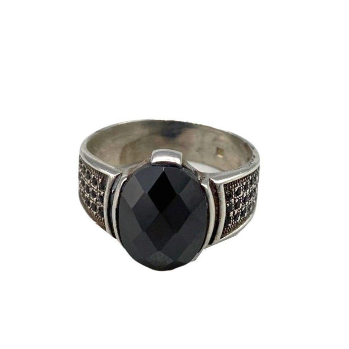 Sterling Silver Moroccan Berber Ring - Onyx Size 9.5 Rings