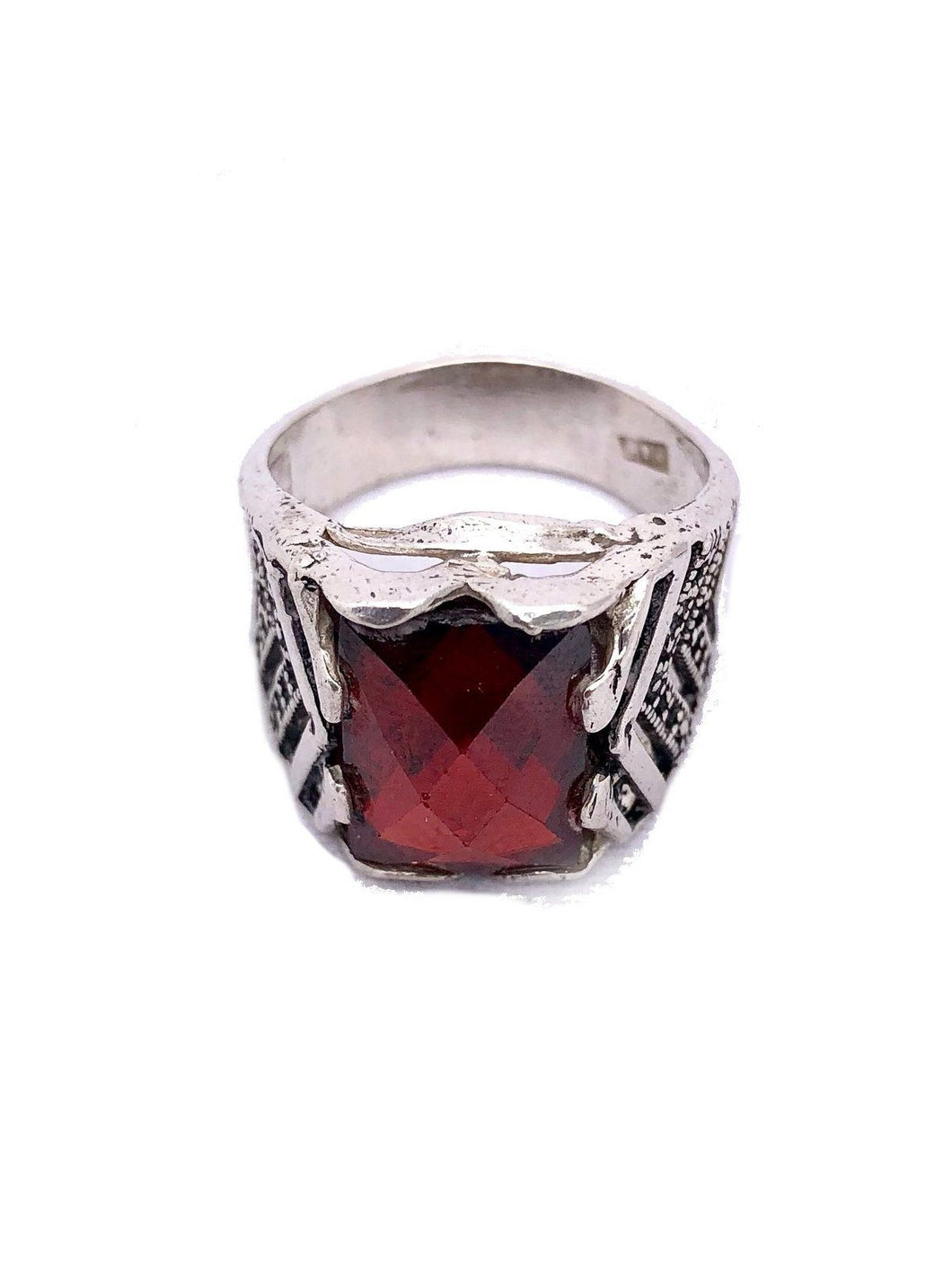 Sterling Silver Moroccan Berber Ring - Red Rings