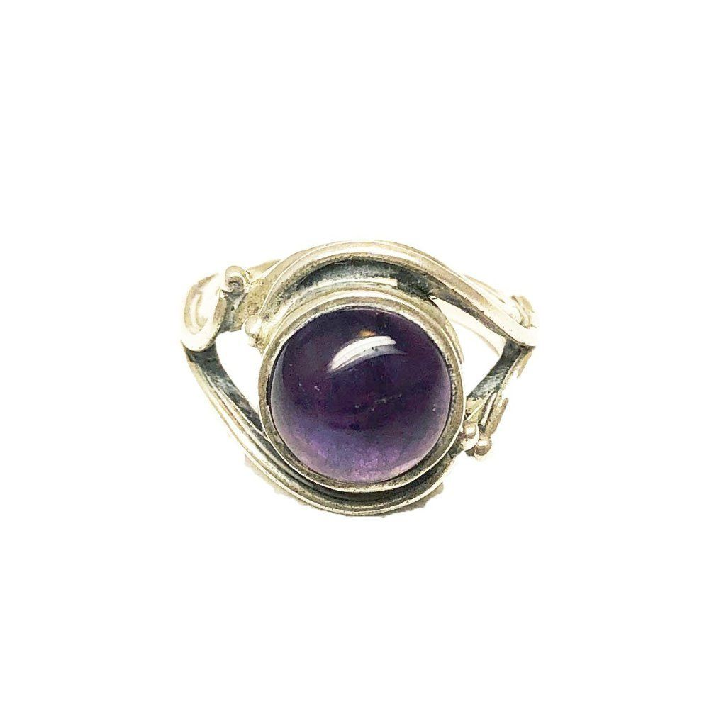 Sterling Silver Moroccan Evil Eye Ring - Large Round Amethyst Size 6.5 Rings