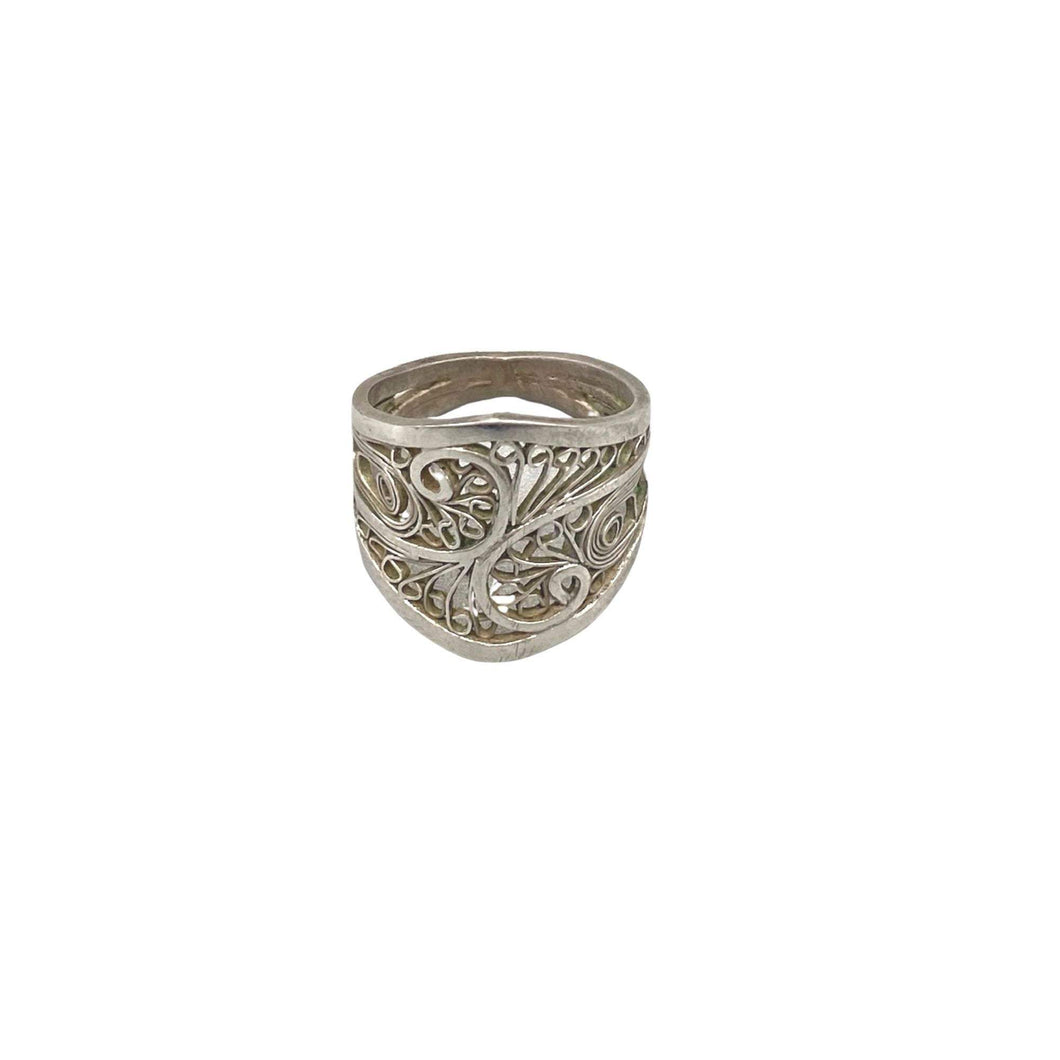 Sterling Silver Moroccan Filigree Ring - Size 5.5 - Unique Handmade Wide Statement Ring Rings