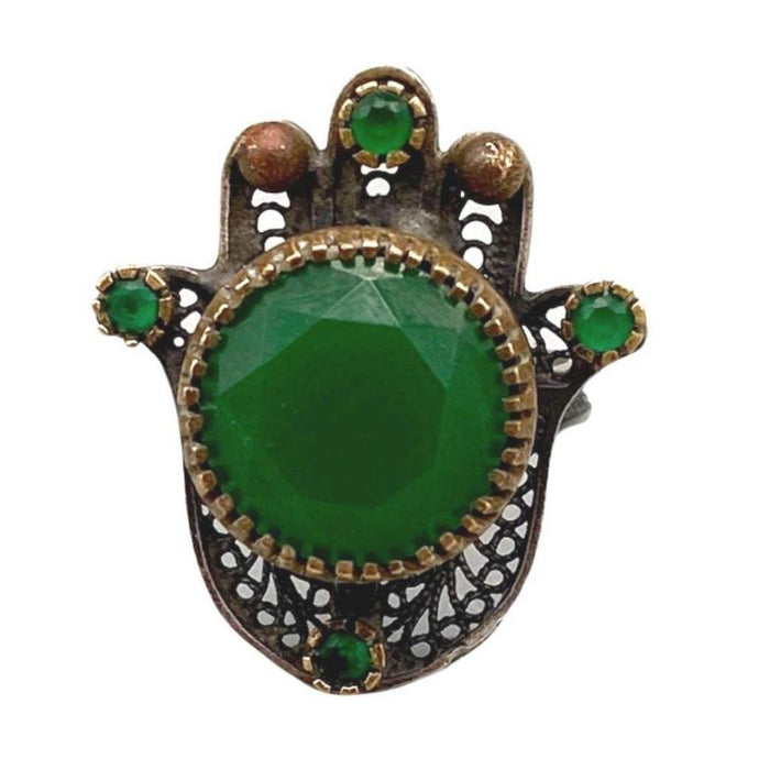 Sterling Silver Moroccan Hamsa Hand Filigree Ring - Large Green Stones Size 9 Ringsr