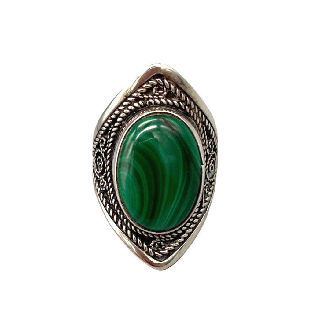 Sterling Silver Moroccan Shield Ring - Large Green Malachite Stone Size 7 Rings