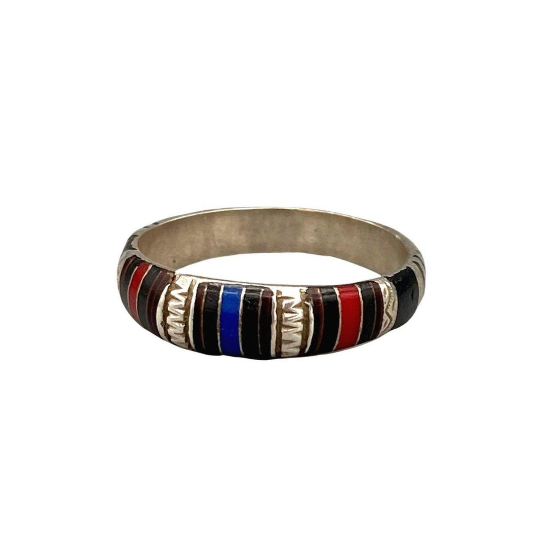 Sterling Silver Tuareg Band Ring - Lapis, Coral & Ebony Size 9.5 Rings