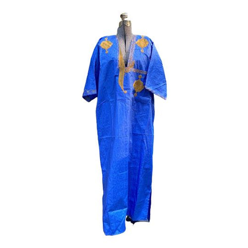 Tuareg Djellaba Caftan - Handmade, Embroidered - Dark Blue & Gold Kaftans