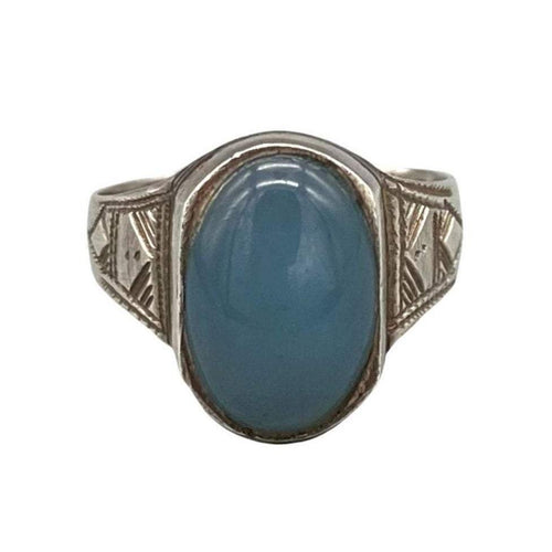 Unique Sterling Silver & Ebony Tuareg Ring - Light Blue Chalcedony Stone - Size 8 Rings