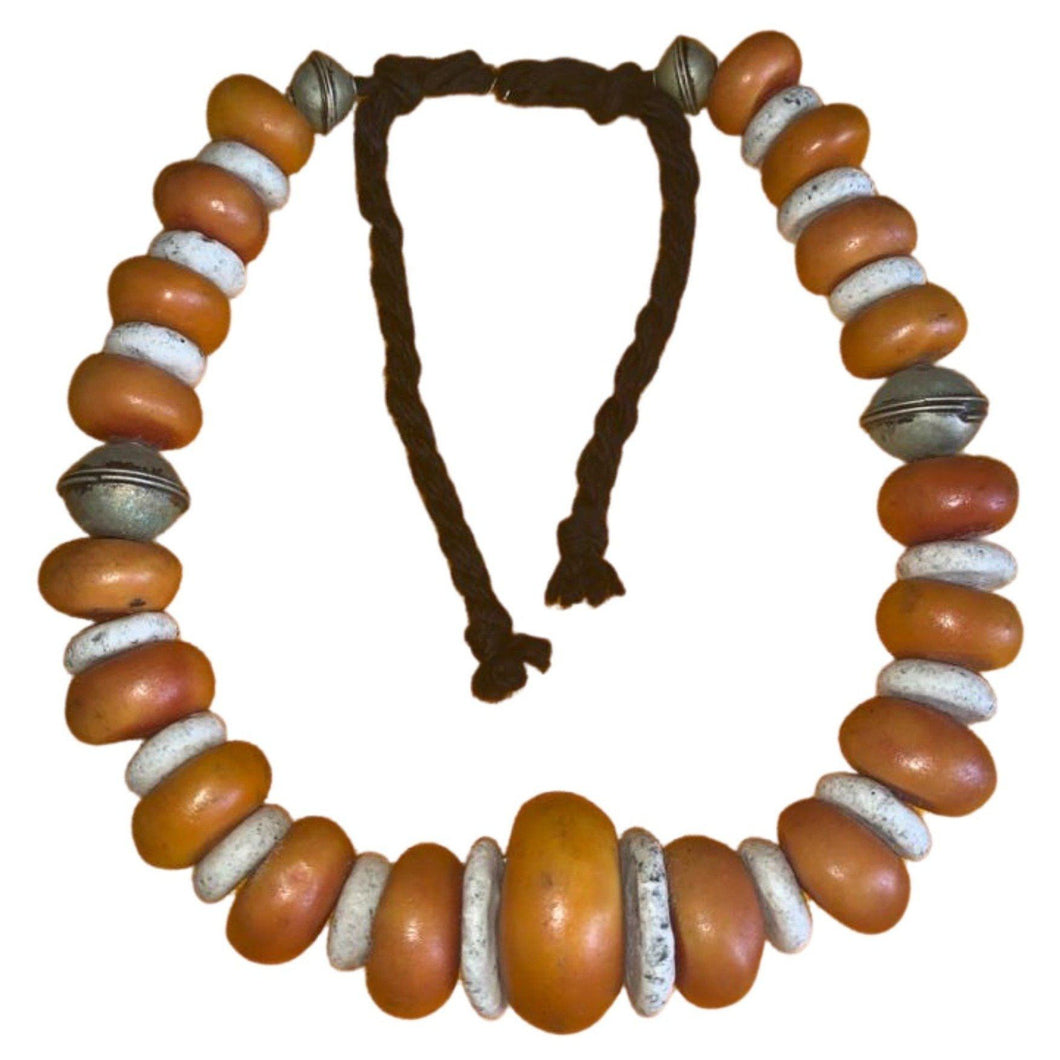 Vintage Amber Copal & Cockle Shell Tuareg Necklace Necklace