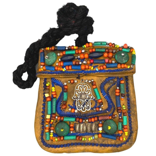 Vintage Moroccan Beaded Leather Hamsa Purse - Tan Yellow Bags & Purses