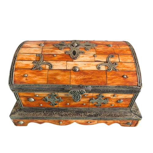 Vintage Moroccan Berber Jewelry Chest - Hand-Carved Bone Home Decor