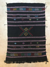 Vintage Moroccan Berber Rug Beautiful Silk Designs Black Cotton