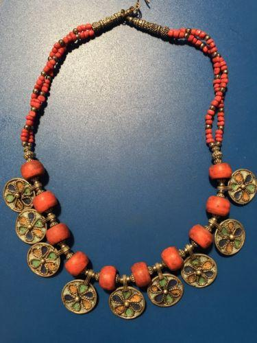Vintage Moroccan Coral Pendant Necklace African