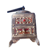 Load image into Gallery viewer, Vintage Moroccan Hand Crank Coffee Grinder - Silver Hamsa, Fibula, Tuareg Leather Home Decor