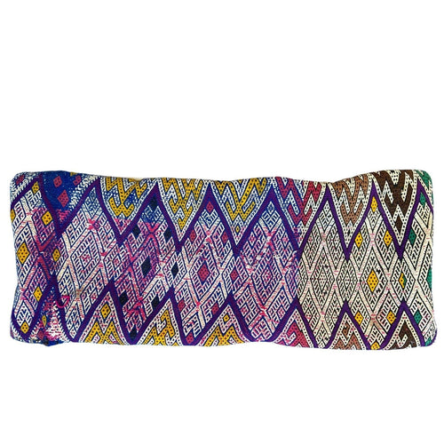 Vintage Moroccan Kilim Lumbar Pillow - Purple & Yellow Diamonds Home Decor