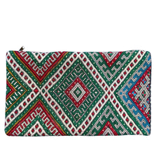 Vintage Moroccan Kilim Lumbar Pillow - Red & Green Diamonds