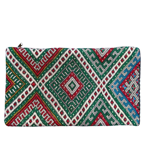 Vintage Moroccan Kilim Lumbar Pillow - Red & Green Diamonds Home Decor