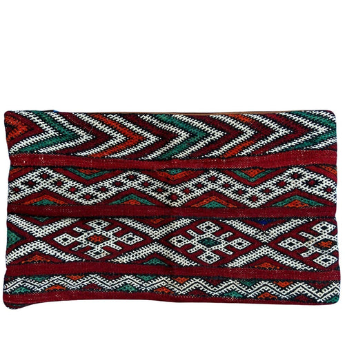 Vintage Moroccan Kilim Lumbar Pillow - Red Stripes Home Decor