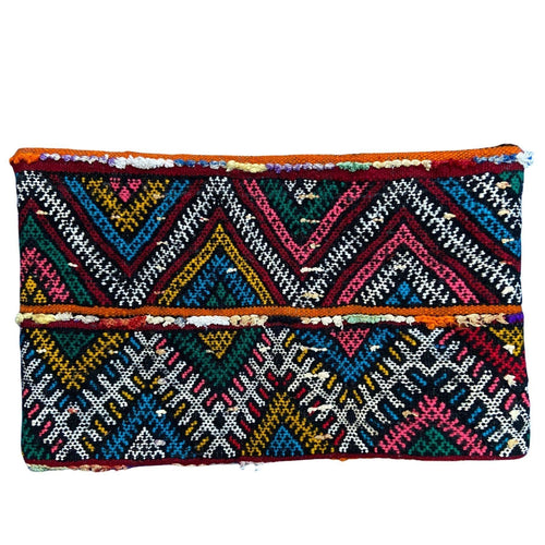 Vintage Moroccan Kilim Lumbar Pillow - Zigzag Multicolor Home Decor
