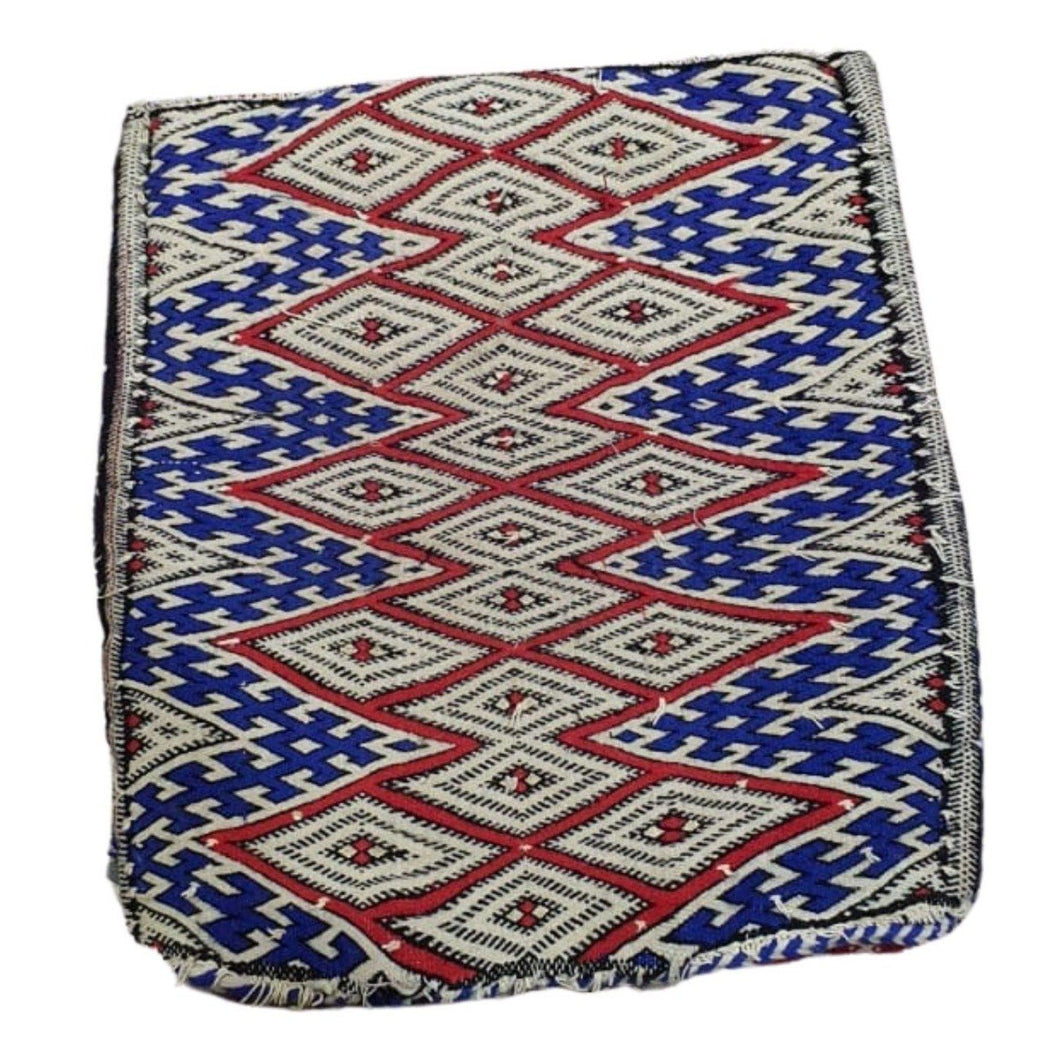 Vintage Moroccan Kilim Throw Pillow - Blue & Red Eyes Home Decor