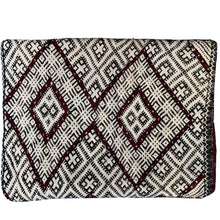 Vintage Moroccan Kilim Throw Pillow - Deep Red Double Diamond