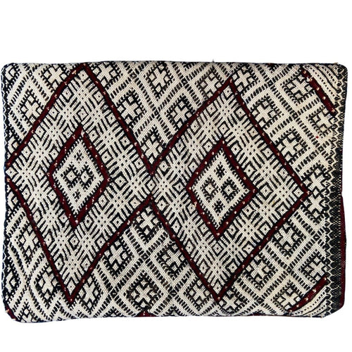 Vintage Moroccan Kilim Throw Pillow - Deep Red Double Diamond Home Decor