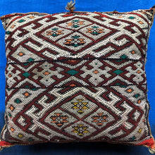 Load image into Gallery viewer, Vintage Moroccan Red Kilim Throw Pillow - Handwoven Wool - Square - Decorative Berber Tribal - Boho Home Decor Home Decor
