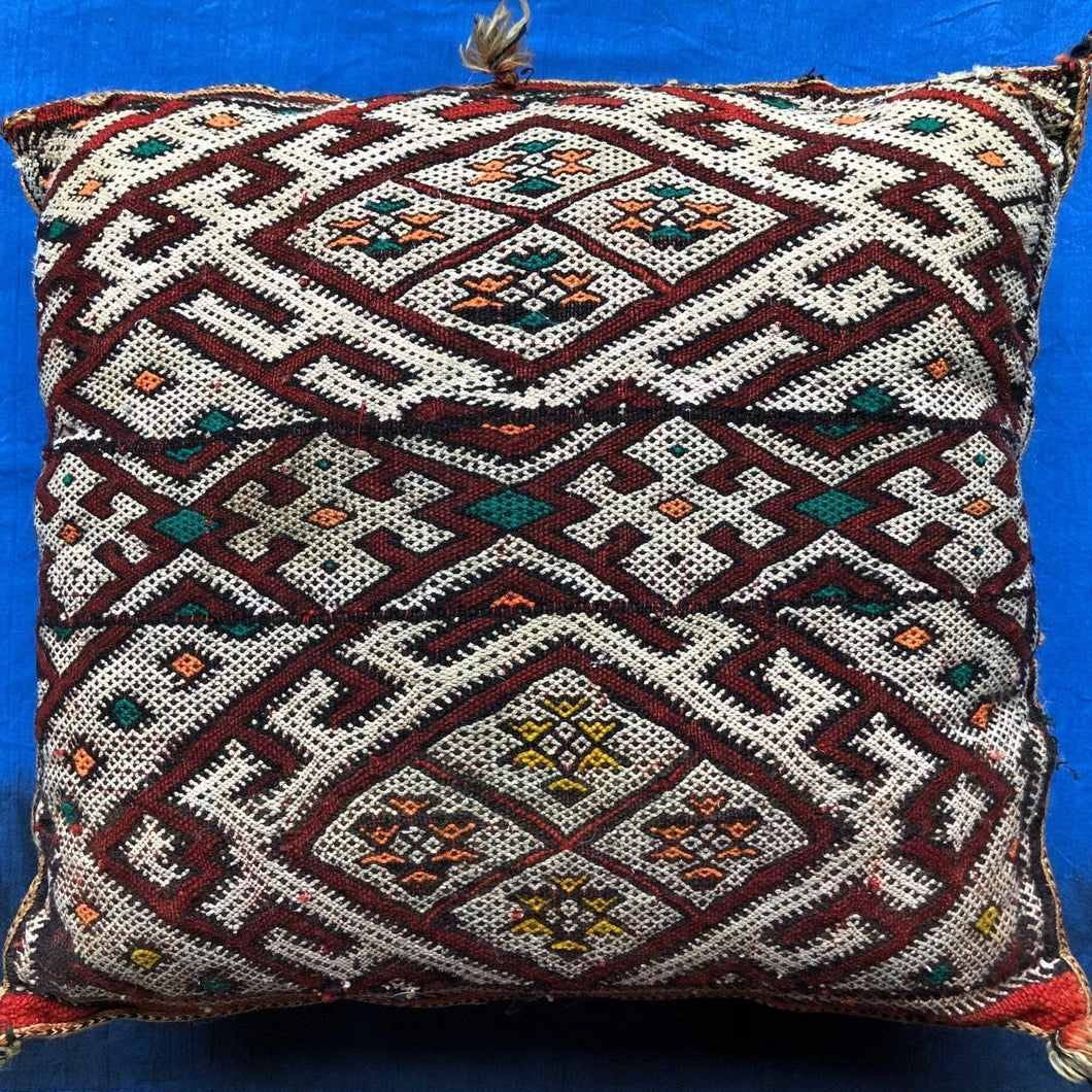 Vintage Moroccan Red Kilim Throw Pillow - Handwoven Wool - Square - Decorative Berber Tribal - Boho Home Decor Home Decor