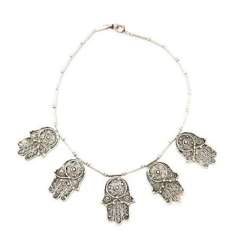 Vintage Silver Hamsa Necklace Necklace