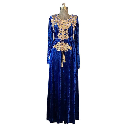 Women's Embroidered Moroccan Blue Velvet Takchita Kaftan Dress Kaftans