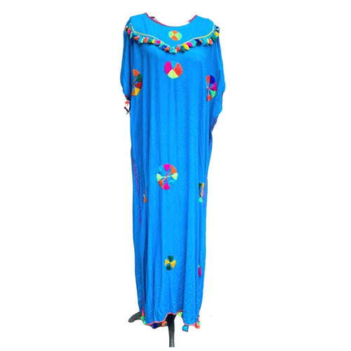 Women's Embroidered Moroccan Turquoise Blue Lightweight Kaftan Dress - Handmade Festive with Pompom Tassels Kaftans