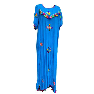 XL Women's Embroidered Moroccan Turquoise Blue Lightweight Kaftan Dress - Handmade Festive with Pompom Tassels