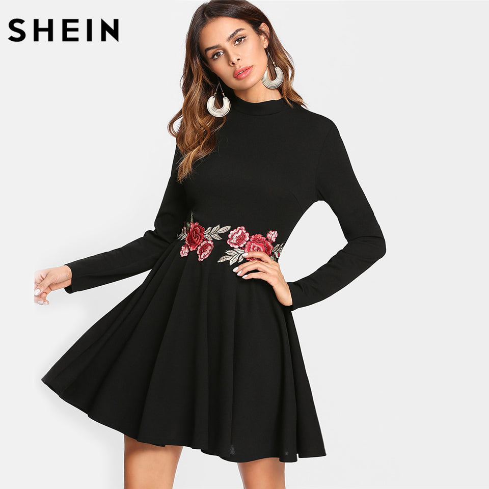 487f76ff1e SHEIN Black A Line Women Dress Embroidered Rose Applique Skater Dress Long  Sleeve Stand Collar Fit
