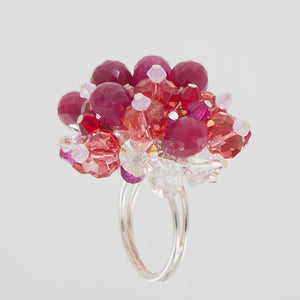 Roses and Rubies Cocktail Ring