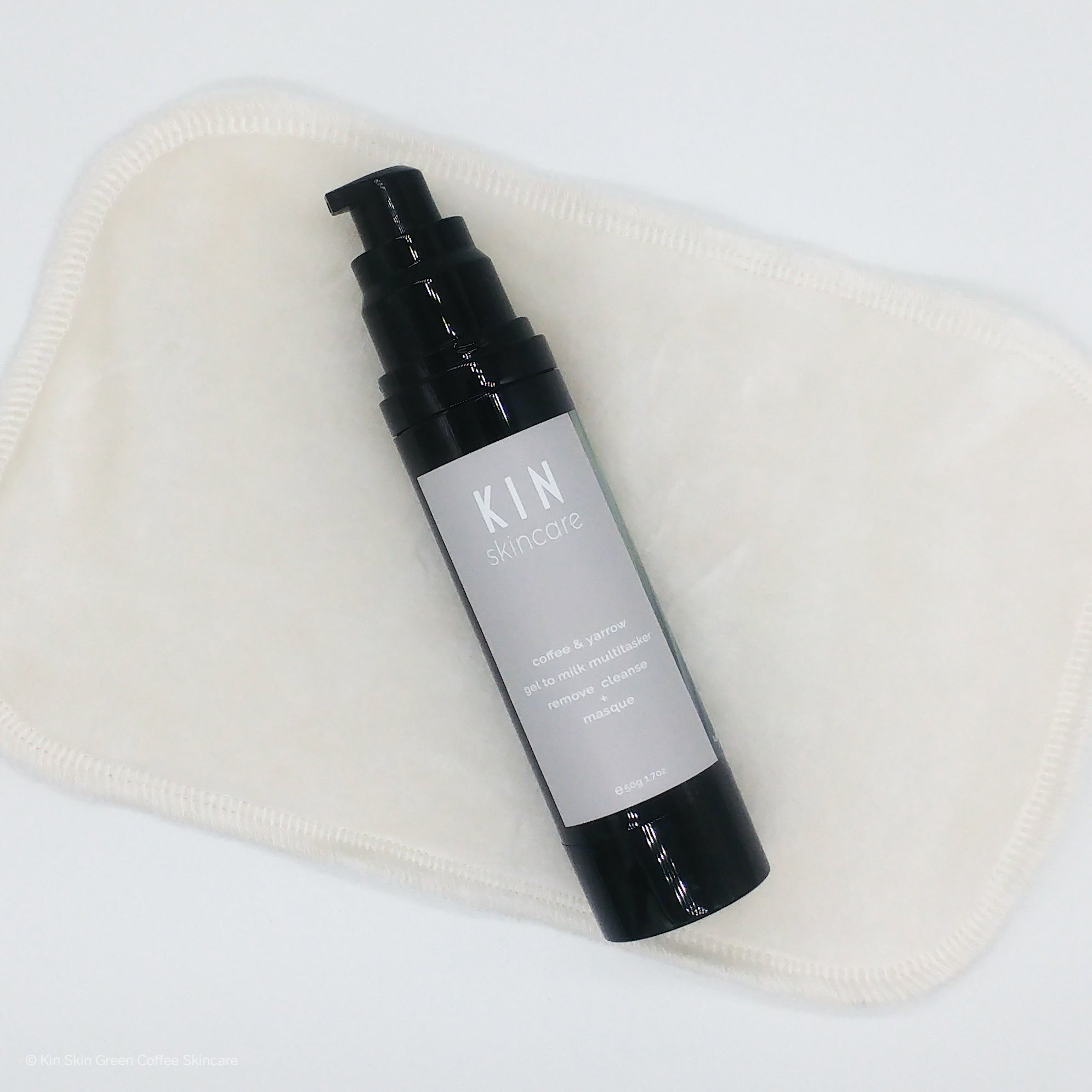 Coffee + Yarrow Gel-to-Milk | Cleanser, Mask & Makeup Remover. Bamboo Cleansing Cloth Included