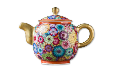 Colorful porcelain tea set