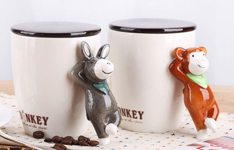 3D animal handle coffee mug with lid