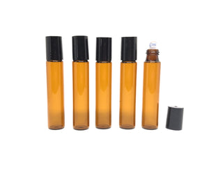 G001H 10ml Slim Amber Roller Bottle Metal Set (Pack of 5)