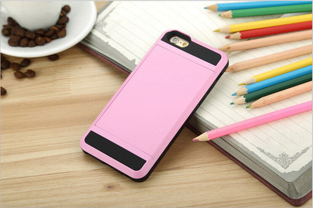 Tough Hybrid Capa Case For Apple iPhone with Slider Card Holder,Case - iGadgetfied