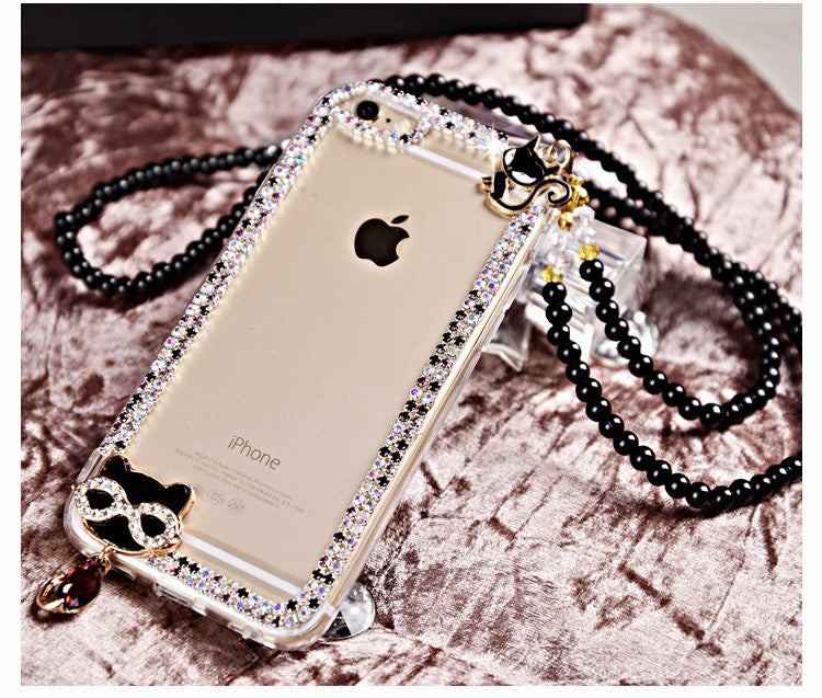 Bling Diamond Black Cat Phone Case Cover For iPhone & Samsung Models