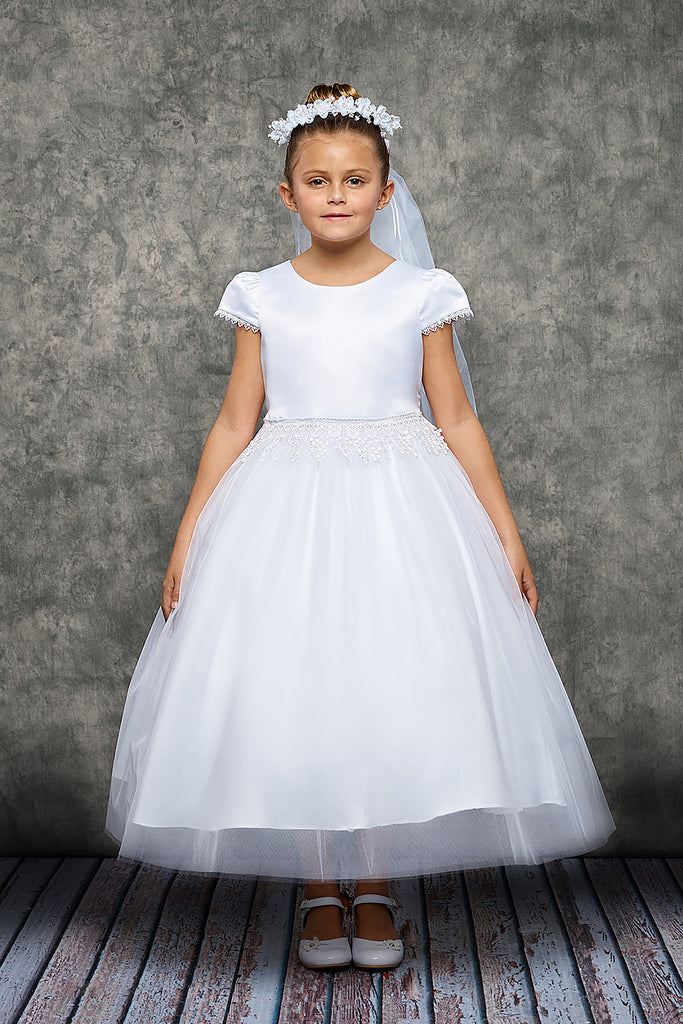 Kids Dream White Communion Dress with White Satin Flower Veil