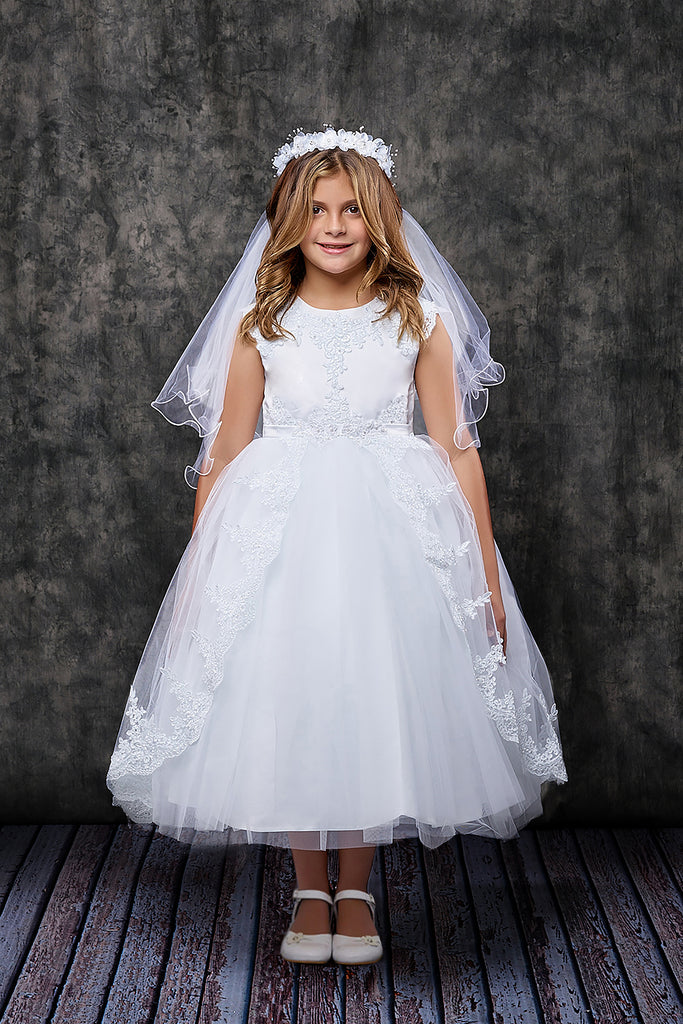 Kids Dream White Holy Communion Dress with Crown and Veil
