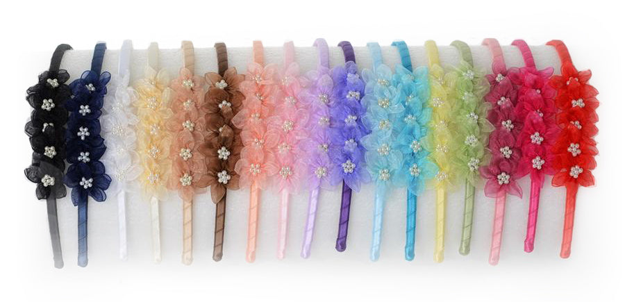 Kid's Dream Organza with Pearls Headbands - Free with any dress in June!