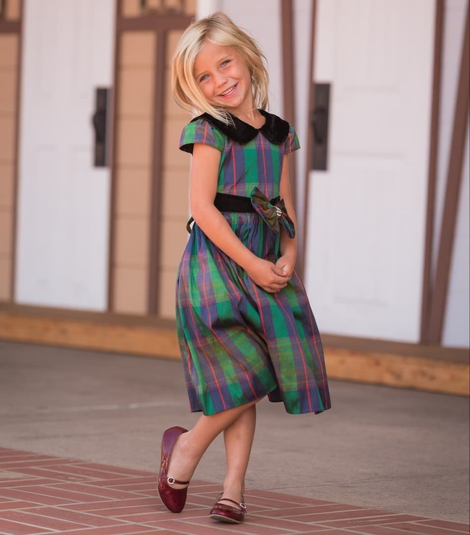 plaid with velvet collar dress
