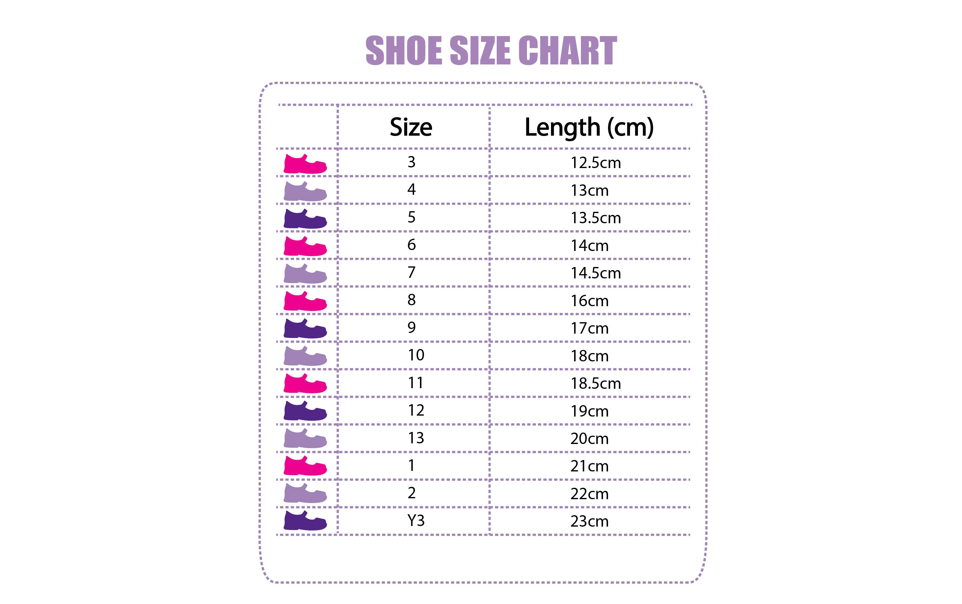 Kid's Dream Shoes Size Chart